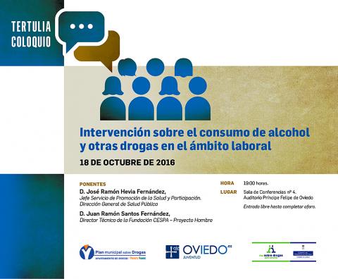 Tertulia consumo alcohol y drogas en el ámbito laboral